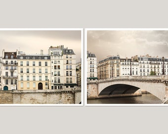 Paris photography set Large wall art set of 2 prints Paris architecture art, Paris wall art set 11x14, 16x16, 16x20 beige living room decor