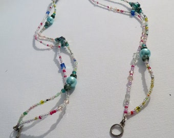 Double strand blue pearl necklace