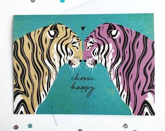 Happy Tigers / Tiger Greeting Card / Birthday Card / Blank Inside