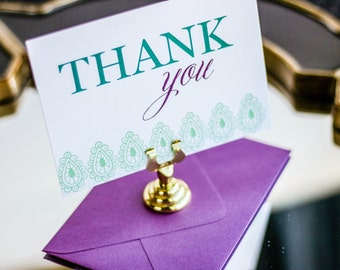 "Teal and Purple, Henna Thank You, Wedding Notecard, Indian Thank You, Luxury Stationery - ""Modern Henna"" Flat Thank You Cards - DEPOSIT"