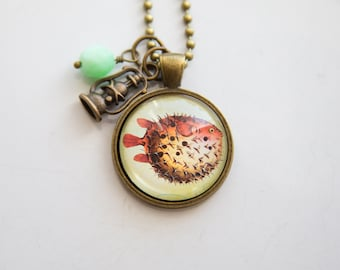 Puffer Fish Necklace - Sea Creature Pendant - Ocean Pendant - Nature Lover - Marine Biology Fish Necklace - Gift for Science Teacher