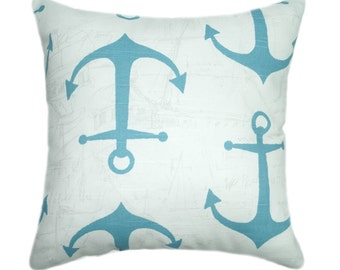 Nautical STUFFED Pillow, Anchors Coastal Blue Throw Pillow, Coastal Decor Accent Pillow, Beach Decor Pillow, Blue White Pillow - Free Ship