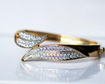 18K gold plated leaf-shaped cuff bracelet with aurora borealis Swarovski crystals