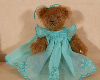 Mohair Teddy Bear in Hand Smocked Dress