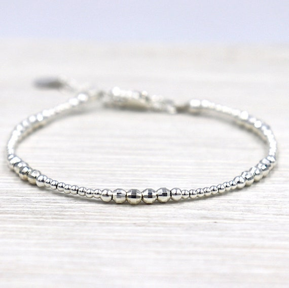 Bracelet Silver 925 round beads and faceted