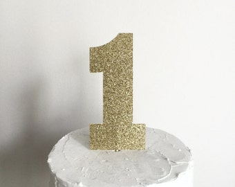 Gold Glitter First Birthday Cake Topper - number 1