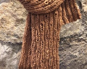 Cozy Bark Hand Knit Scarf
