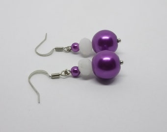 Pink or purple pearls earrings