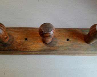 Original Vintage French wooden coat rack with hanging knobs