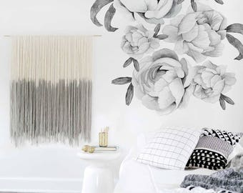 Flower Wall Decal Black and White Flower Decal Mural Large Flowers Shelf Adhesive Removable Kids Decor Girls Peonies. Peonies Wall Decal