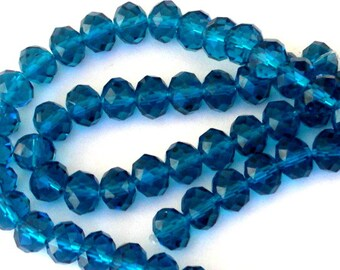 20 teal blue rondelle beads, 8mm cerulean blue Chinese crystal, Indicolite