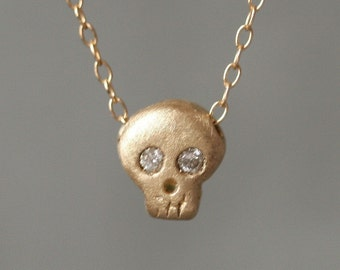 Baby Skull Necklace in 14K Yellow Gold with Diamonds