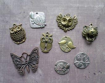 9 silver great big animal bird OWL Tiger tortoise Bronze Metal charms