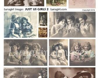 Just Us Girls VINTAGE PHOTOS digital collage sheet, Victorian children ladies sisters friends altered art images postcards ephemera DOWNLOAD
