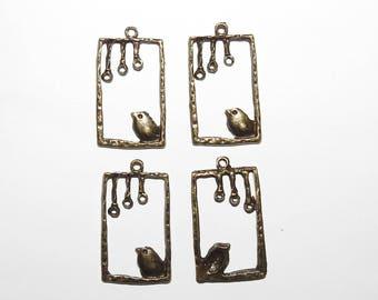 Four Rectangular Bird Charms bronze tone pendants