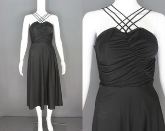 70's Disco Dress    70's Black Poly Strappy Disco Dress