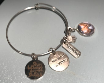 "Wonder Woman Bangle, ""She Believed She Could, So She Did"""