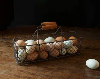 Antique French Cast Iron Wire Egg Basket