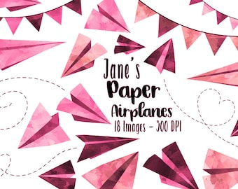Watercolor Pink Paper Planes Clipart - Travel ClipArt - Digital Download - Cute Airplane Graphics
