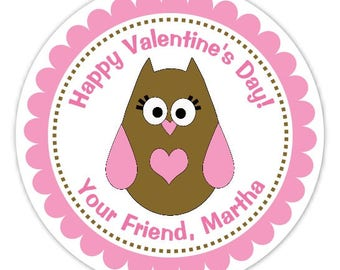Custom Owl Valentine's Day Labels, Stickers - 2.5 inch round - Personalized Children's Stickers