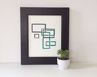 Geometric Art Rectangles PRINT Teal and Gray Squares 8 x 10