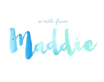 Personalized Watercolor Notecards, Girls Notes, Kids Thank you Cards, Script, Typography, Custom Childrens Thank You Notes, 30