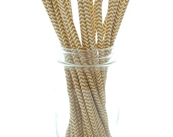 Gold Chevron Straws, Golden Anniversary Party Straws, Paper Wedding Straws, 25 Pack - Gold Zig Zag Straws
