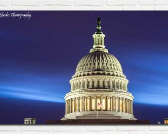 Washington DC Photo - US Capitol Building - Capitol Rotunda - Washington DC Photography - Untied States Decor - Blue Hour Photo
