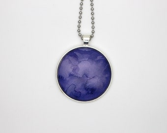 Indigo watercolour glass tile necklace