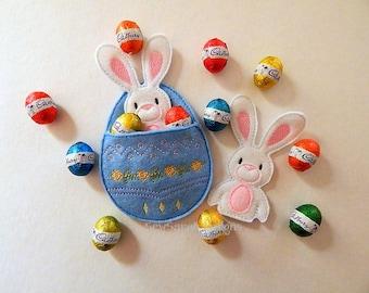 ITH Easter Bunny Finger Puppet & Egg Pocket set (5x7) Instant digital download
