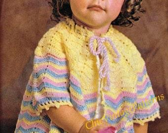 Crochet Babies Jacket ... 1960's Crochet Pattern ... PDF Crochet Pattern ... Baby Gift ... Fair, Fete, Market ... Matinee Jacket