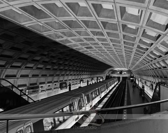 Washington DC City Metro Station Underground Tunnel, Photograph, Digital Download, Wall Art, Printable, Modern Art, Architecture, Minimalist