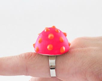 Ceramic Ring, Cocktail Ring - big ring,  bold ring, neon ring, statement jewelry, gift for her, handmade ring, ceramic jewelry