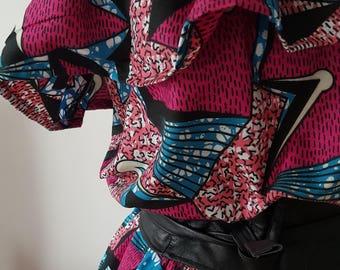 Dress made of wax African ankara print strapless pink, black and blue