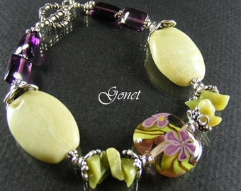 Red Fluorite Bracelet  Heather Freesia  (Heather Collection)  by Gonet Jewelry Design
