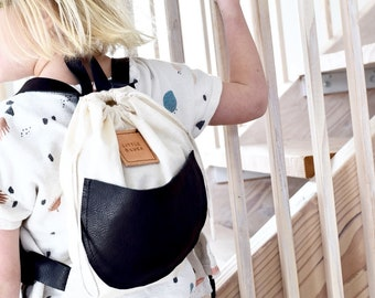 LITTLE O LUCA backpack | child backpack | kids backpack | children's backpack | kids bag | tote bag | handmade leather and cotton drawstring