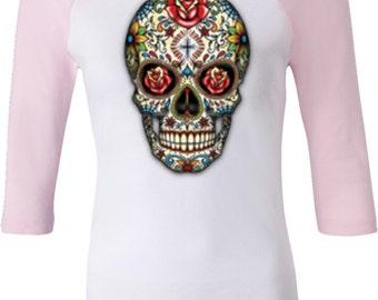 Ladies Skull Shirt Sugar Skull with Roses Raglan Tee T-Shirt WS-16553-B2000