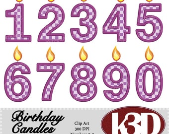 Happy Birthday Purple Number Candle 0, 1, 2, 3, 4, 5, 6, 7, 8, 9 clipart instant digital download. 10 digital images, graphics