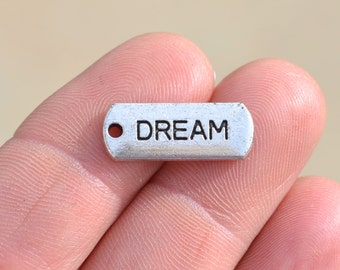 BULK 50 Silver DREAM Charms SC2388