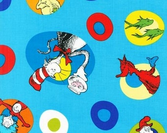 END of BOLT ~~ 27 inches ~~ Dr. Seuss Celebrate Seuss Tossed Characters on Blue Thing 1 & 2 The Grinch Sale