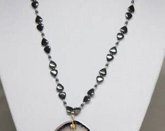 Black and grey agate necklace