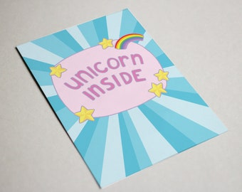Unicorn Inside Postcard - unicorn card, unicorn postcard, unicorn humour, postcard unicorn, retro postcard unicorn