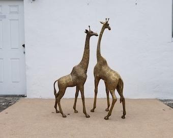 1970's  Hollywood Regency Solid Brass  Giraffe  Floor Sculpture  - A  Pair .