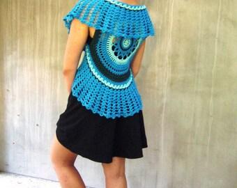 Blue boho lace crochet mandala vest waistcoat cotton Bohemian clothing festival