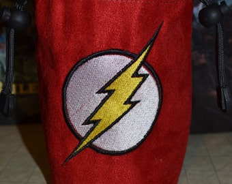 Dice Bag The Flash Embroidery on Red Suede