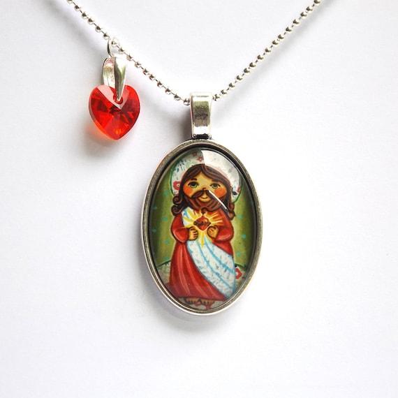 Sacred heart of jesus medal sacred heart pendant sacred heart aloadofball Images