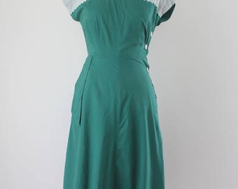 1940s Cotton Green Side Button Dress