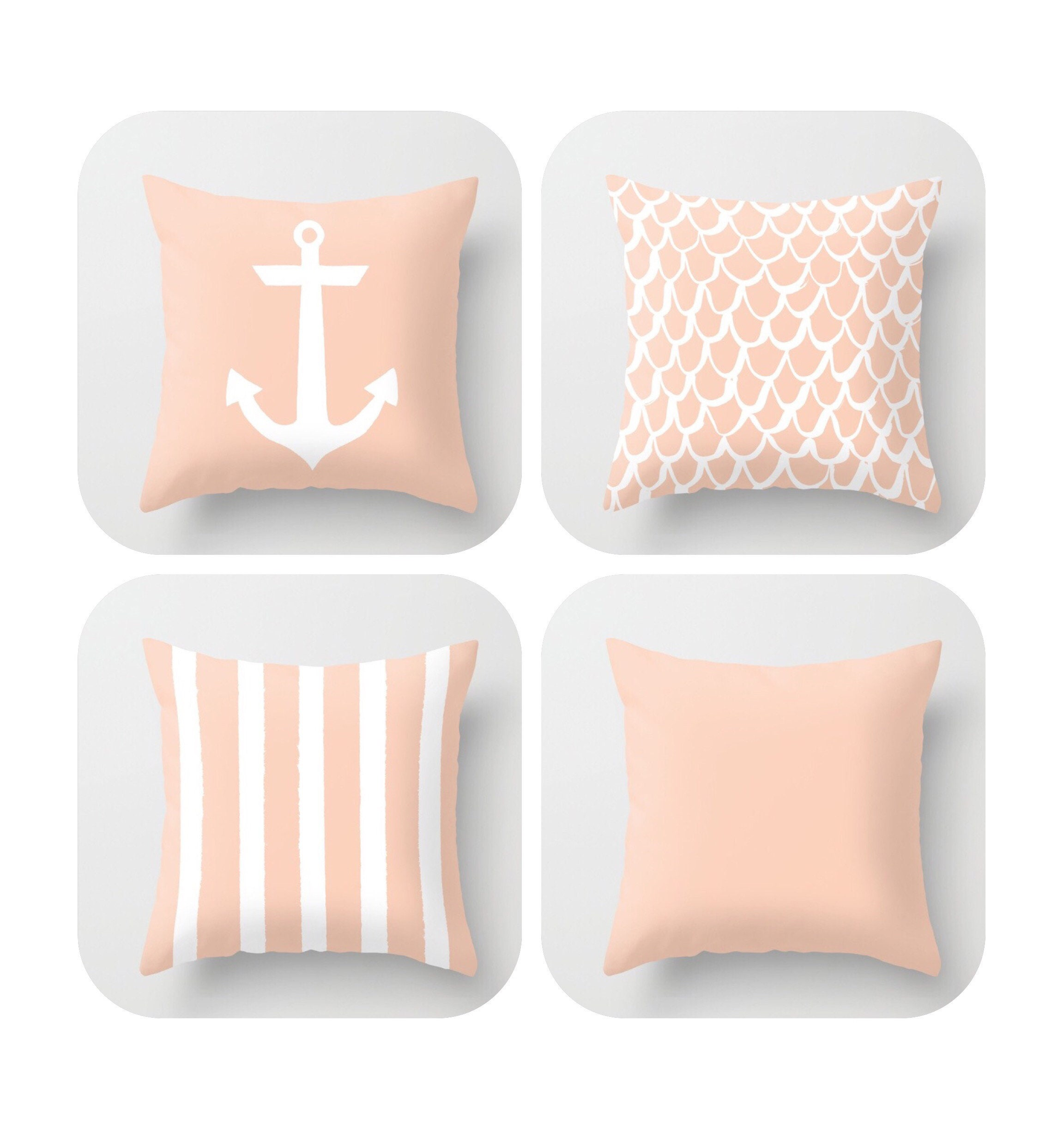 OUTDOOR Throw Pillow . Pale Peach Mermaid Pillow . Coastal Patio Cushion . Anchor  Pillow . Peach Stripe Pillow . 16 18 20 Inch . Rectangle