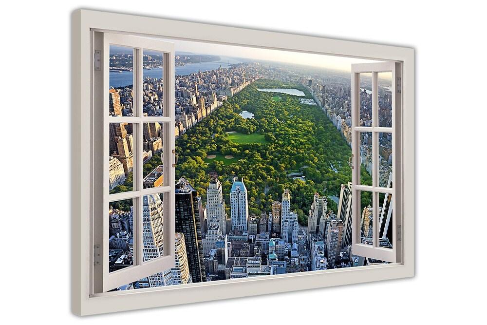 Ciudad de Nueva York Parque Central Bahía ventana 3D efecto