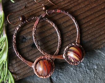Hammered Copper Earrings, Boho Tribal Hoop Earrings Handmade Rustic Bohemian Copper Hoops Copper Earrings Hippie Earrings Hippie Jewelry